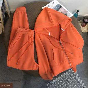 Заказать оранжевый спортивный костюм на флисе с кофтой на змейке женский онлайн
