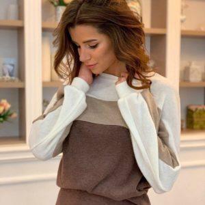 Заказать мокко костюм женский из ангоры с юбкой и свитером оверсайз недорого