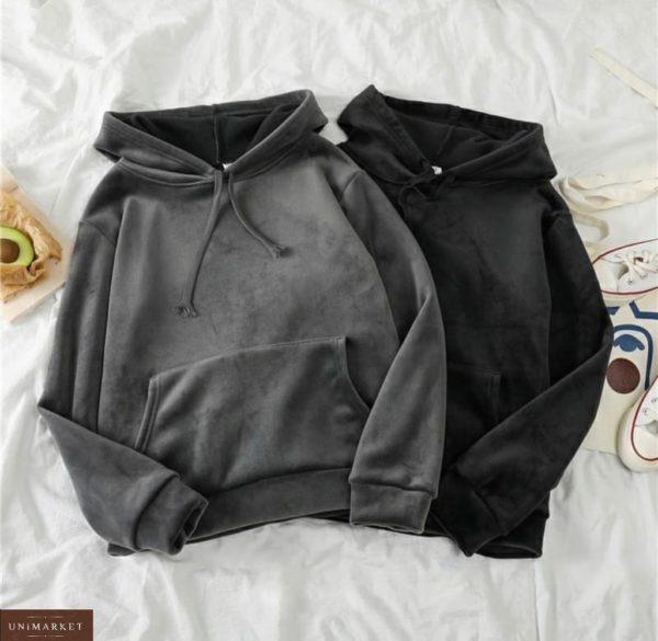 Заказать серый, черный женский велюровый спортивный костюм кенгуру (размер 42-52) онлайн