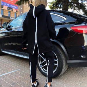 Придбати чорного кольору спортивний костюм на флісі жіночий зі змійками (розмір 42-52) по знижці