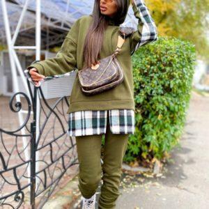 Замовити хакі спортивний жіночий костюм з трехніткі з картатими вставками (розмір 42-48) на осінь дешево
