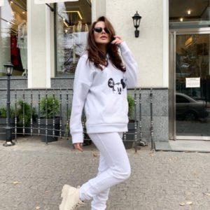Придбати жіночий спортивний костюм з Міккі Маусом на флісі білого кольору онлайн
