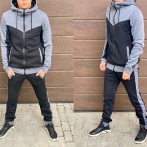 Купить серый/черный теплый спортивный костюм двухцветный (размер 46-52) в интернете мужской