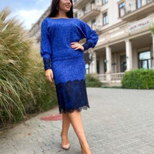 Приобрести синий костюм: юбка+джемпер с кружевным гипюром (размер 42-56) для женщин выгодно