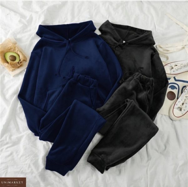 Заказать женский велюровый спортивный костюм кенгуру (размер 42-52) синий, черный выгодно