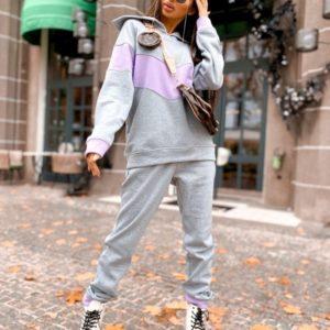 Замовити на осінь спортивний костюм з трехніткі з кольоровою вставкою дешево сірий