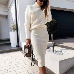 Придбати бежевого кольору костюм з рукавами летюча миша з спідницею міді в інтернеті для жінок