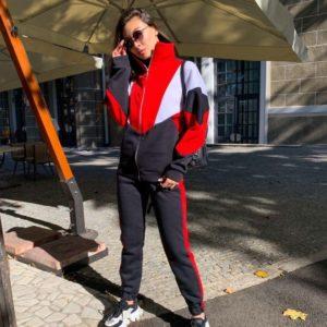 Придбати жіночий Утеплений спортивний костюм на змійці чорний / червоний вигідно