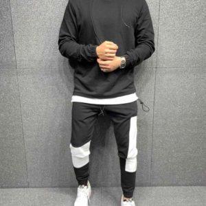 Заказать черного цвета мужской спортивный костюм с начесом с худи (размер 46-52) на осень выгодно