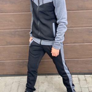 Приобрести серый/черный теплый спортивный костюм двухцветный (размер 46-52) мужской на осень дешево