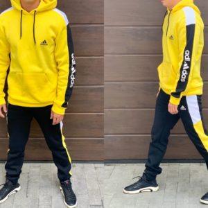 Приобрести мужской спортивный костюм с батником на флисе желтого цвета Adidas (размер 46-52) недорого