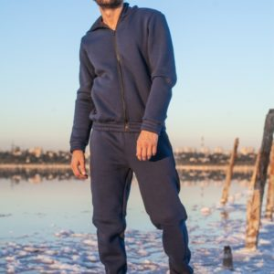 Заказать синий мужской теплый спортивный костюм на змейке (размер 46-52) недорого