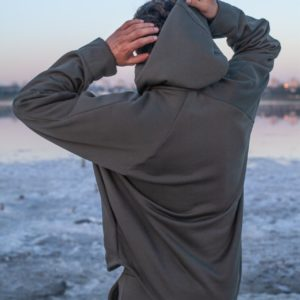 Заказать серого цвета по низким ценам спортивный костюм с худи оверсайз (размер 46-52) мужской