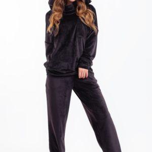 Купить женский велюровый костюм с капюшоном и широкими штанами черного цвета дешево