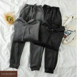 Купить недорого женский велюровый спортивный костюм кенгуру (размер 42-52) черного, серого цвета