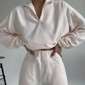 Придбати жіночий молочний спортивний костюм з флісу зі змійкою недорого