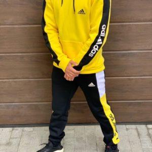 Заказать желтый мужской спортивный костюм с батником на флисе Adidas (размер 46-52) по скидке