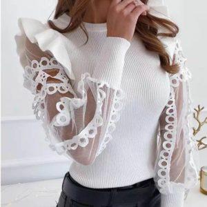 Приобрести женскую трикотажную кофту с прозрачными рукавами в интернете белого цвета