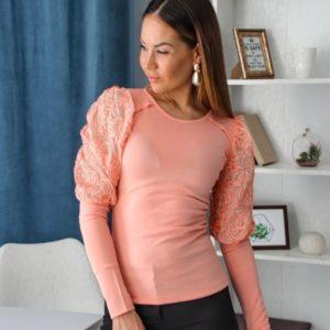 Купить пудра женскую трикотажную кофту с пышными рукавами из гипюра (размер 42-54) выгодно