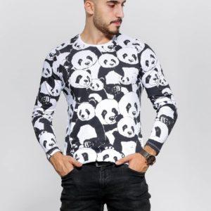 Замовити чоловічу чорно-білу кофту з пандами з довгим рукавом (розмір 48-54) недорого