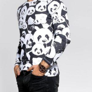 Купити на розпродажі чоловічу кофту з пандами з довгим рукавом (розмір 48-54) чорно-білу вигідно