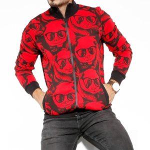 Купити чоловічу на зиму теплу кофту на змійці з принтом панди (розмір 48-54) червоного кольору вигідно