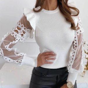 Заказать белую трикотажную кофту с прозрачными рукавами для женщин выгодно