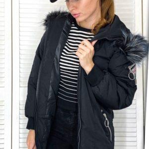 Заказать черную зимнюю женскую куртку с принтом на спине (размер 46-52) онлайн