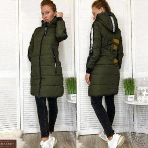 Придбати жіночу зимову подовжену куртку з лампасами (розмір 46-52) кольору хакі недорого