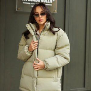 Купити кольору оливка жіночу куртку-трансформер зі знімними рукавами в інтернеті