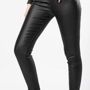 """Приобрести женские брюки-лосины """"под кожу"""" на байке черного цвета по скидке"""
