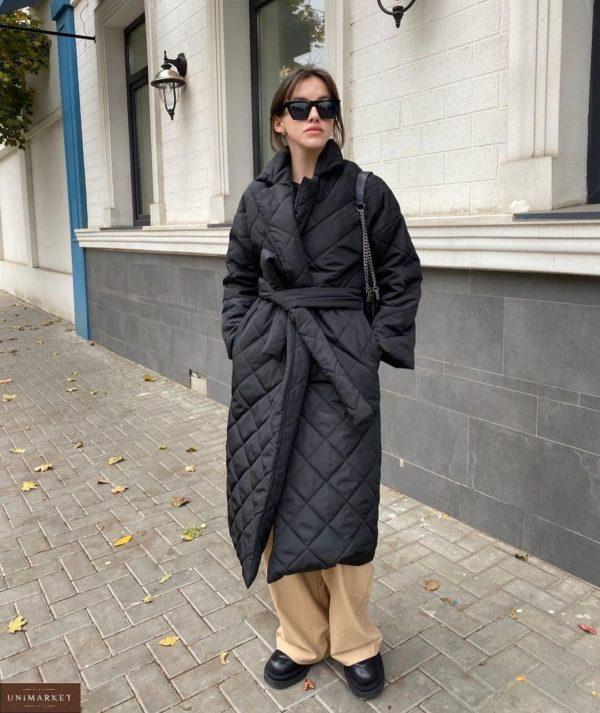 Купить черное стёганное водоотталкивающее женское пальто с поясом (размер 42-52) в интернете