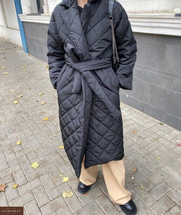 Заказать черного цвета по низким ценам стёганное водоотталкивающее пальто с поясом (размер 42-52) для женщин
