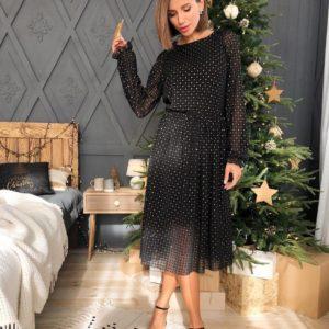 Заказать женское черное платье миди сеткой с открытой спиной недорого