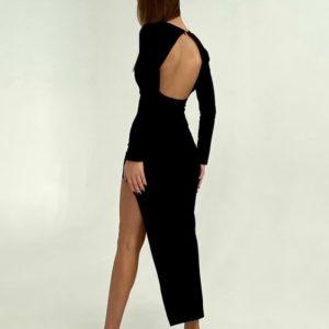 Замовити чорну нарядну асиметричну жіночу сукню міді з відкритою спиною недорого