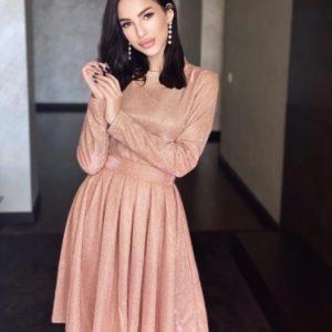 Замовити закрите пудра блискуче плаття з довгим рукавом для жінок на свято онлайн