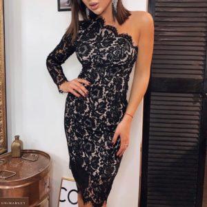 Замовити чорне жіноче ажурне вечірнє плаття на одне плече по знижці