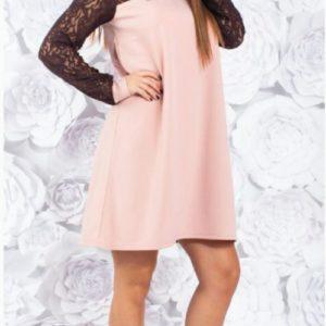 Купить женское свободное платье с гипюром (размер 42-60) цвета пудра дешево