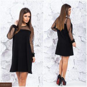 Купить женское платье с сеткой с длинным рукавом (размер 42-60) черного цвета по низким ценам