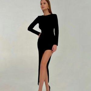 Купити на корпоратив жіноче асиметричне плаття міді з відкритою спиною чорне по знижці