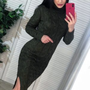 Приобрести женское вязаное теплое платье миди с длинным рукавом цвета хаки недорого