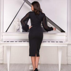 Заказать черное элегантное платье с шифоновыми рукавами (размер 42-54) выгодно для женщин