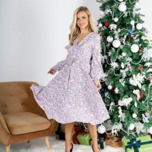 Приобрести женское платье миди в цветочный принт (размер 42-54) белого цвета на новый год дешево