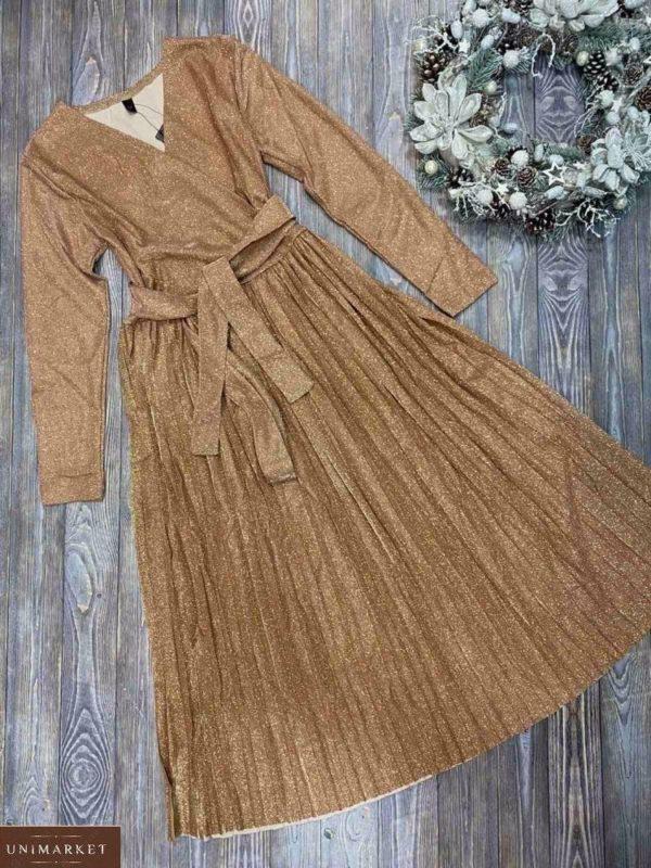 Купить золотое платье плиссе женское с люрексом на новый год по низким ценам