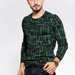 Приобрести выгодно черный с зеленым Двухцветный свитер с круглым вырезом для мужчин