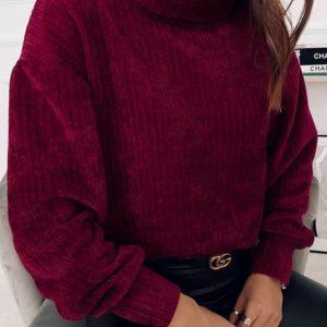 Купить женский цвета бордо свитер из бархатного вельвета в интернете
