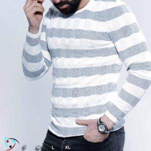 Заказать светло-серый мужской вязаный свитер в полоску (размер 48-54) по скидке