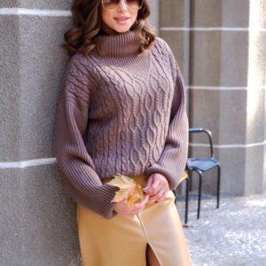 Заказать лавандовый свитер для женщин оверсайз с горлом и фактурным узором онлайн