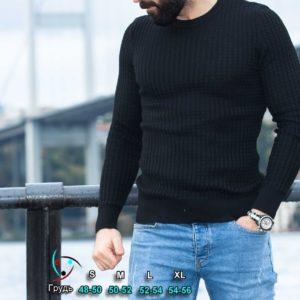 Заказать свитер мужской с круглым вырезом черного цвета вязкой косичка (размер 48-54) недорого