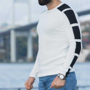 Купить белый мужской свитер с контрастными вставками (размер 48-54) на осень в интернете